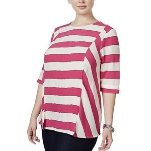 New Melissa McCarthy Fuschia Stripe Top 3X 4X